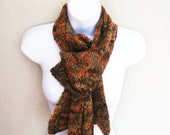 Mohair lace womens scarf in Autumn gold brown orange . Hand knitted with love.