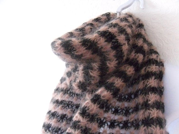 Striped mohair scarf / shawl Dusky pink and black hand knit lace in an open star pattern , sexy , sultry and oh so cuddly