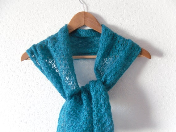 Turquoise mohair scarf / shawl / wrap in open star lace pattern , hand knitted