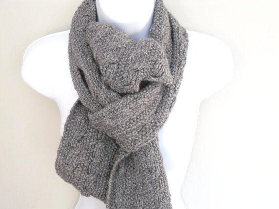 Grey cable scarf, Long Reversible and Oh so cuddly . 40% wool Hand knitted for Autumn / winter collection