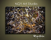 NGY Large 30 x  40 1.5 deep   Original  Modern Abstract Fine Art Painting by R. Silva