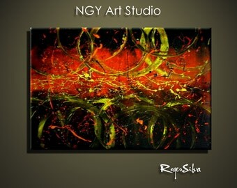NGY   R. Silva Original Modern Abstract Contemporary Fine Art Painting