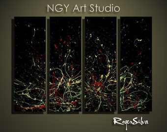 """NGY  36"""" x 48"""" R. Silva Original Modern Abstract Contemporary Fine Art Painting"""