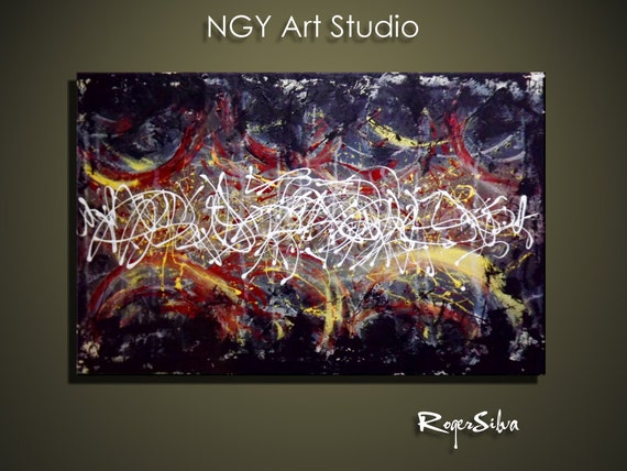 NGY Large 24 x  36   Original  Modern Abstract Fine Art Painting by R. Silva
