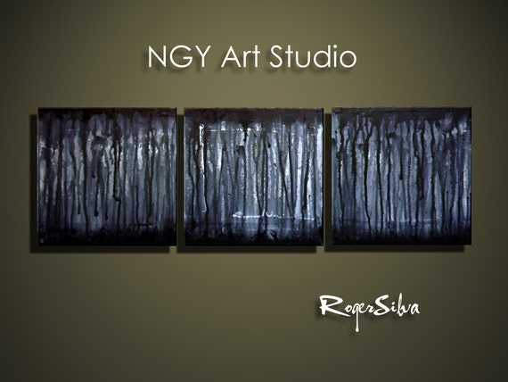 """NGY12"""" X 36""""  Original  Fine Art Triptych Painting by R. Silva"""