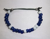 Blues with White on Green Ankle Bracelet
