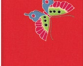 """Vintage unused fine wool kimono cloth material 1/2 yard lots 14""""Japan red with butterflies"""