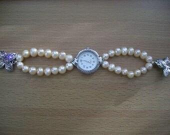 Genuine Pink Akoya Pearl Watch Bracelet - Free shipping