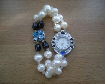 Genuine Akoya White Pearls with black pearls and crystal beads Watch Bracelet - Free Shipping