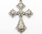 3-Ribbon Bible Bookmark - Silver Cross Bookmarks with Swarovski Crystal - An Original PEACE Book Mark - You Select Custom Color