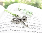 Silver Dragonfly Bookmark - Silver Nature Bookmarks with Swarovski Crystal - An Original PEACE Book Mark - You Select Custom Color