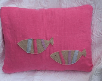 felted wool fish on pink linen pillow cover 12 x 16 - FREE continental US Shipping