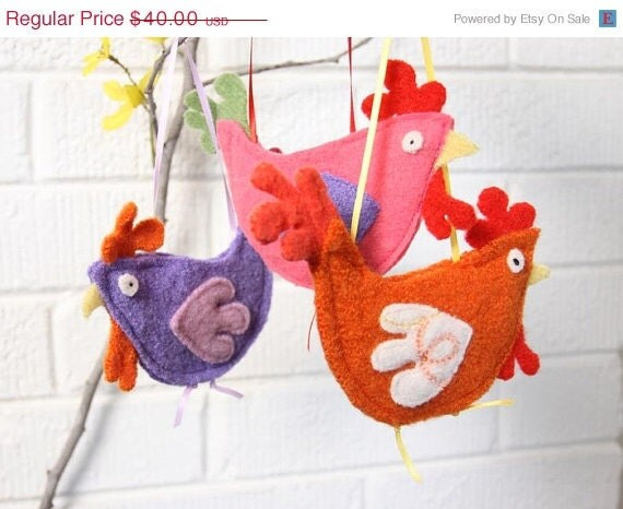 ON SALE recycled wool ornaments - set of 3 chickens