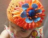 Orange  Crochet Kufi Hat with Orange & Blue Flower Clip-Baby Girl,Child