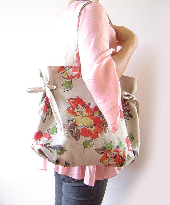 LAST one, Natural Stylish Blossom Linen Shoulder with 2 Straps, Big enough for Your Everyday LIFE,  Unique Design of BagyBag