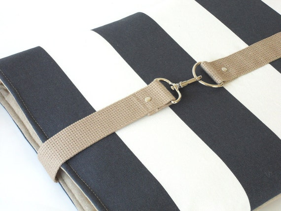 LAST ONE.15 inch  MacBook or Laptop sleeve with attachable strap - Light Navy Stripe Canvas Beige  Strap Closure, Unique Design of BagyBag