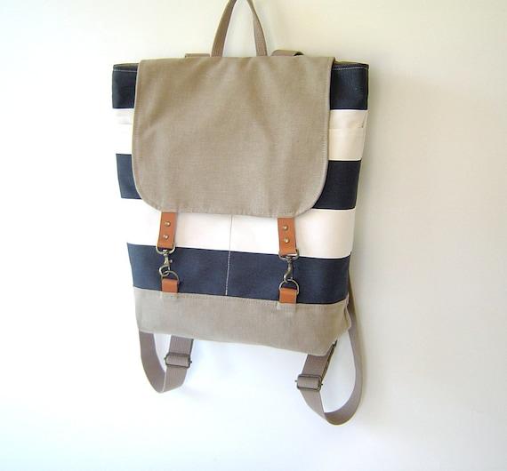 LAST ONE -Light Navy Stripe and Beige Backpack, Unique Design of BagyBag