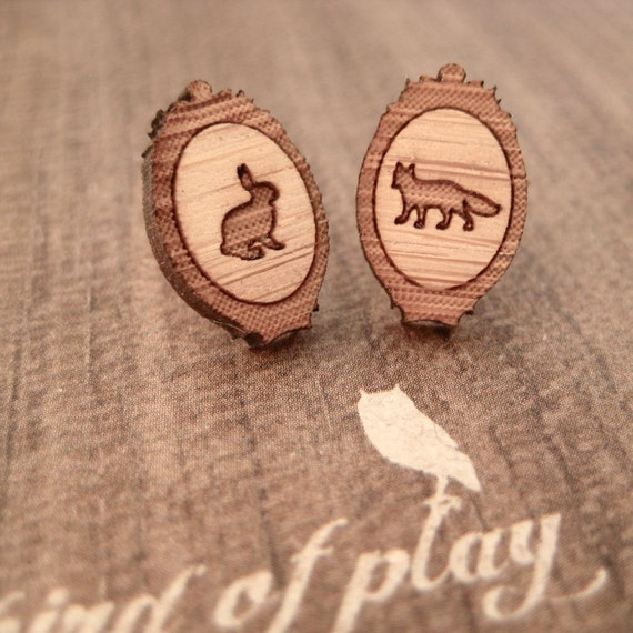 Rabbit & fox cameo earrings