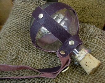 Plum Purple Leather-Wrapped Glass Bottle - Pirate/Steampunk/Renaissance/LARP