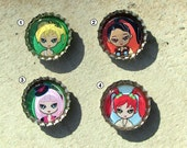 You Pick Four Cute Cartoon Character Bottlecap Magnets - Kawaii Animals - Chibis - Cute Girls