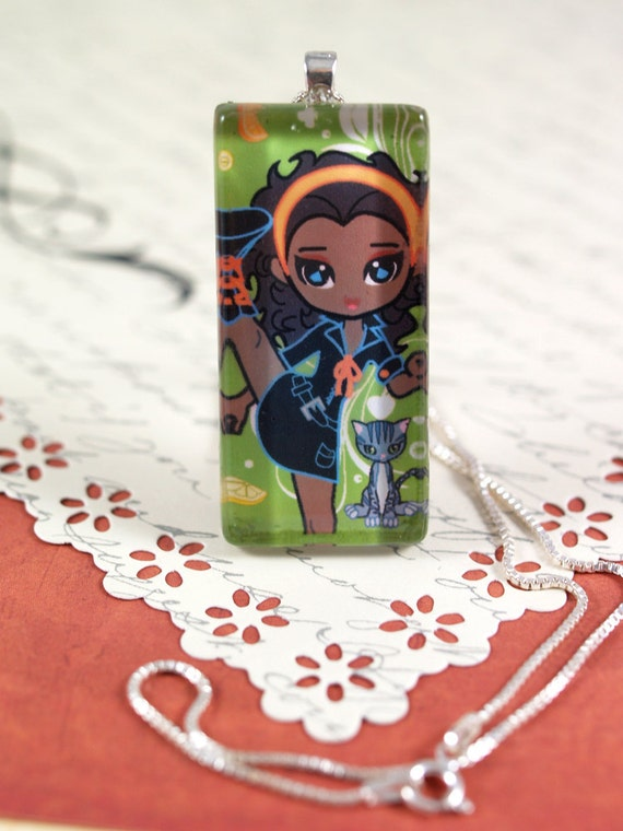 Cute Cartoon African American Girl Chibi Pendant - Sterling Silver Box Chain - Kawaii Black Girl