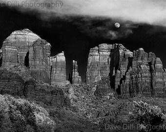 Two Sedona Arizona Photography Black & White Cathedral Rock Photos - two unmatted fine art multiple sizes