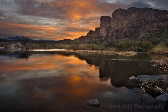 Arizona Photo Salt River orange, dusk, dawn, reflections, dark, calm, serene, soft, quiet, Sunset Drama - 13 x 19 Matted Fine Art
