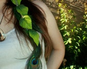 Green Leaves and Feathers Earring or Roach Clip