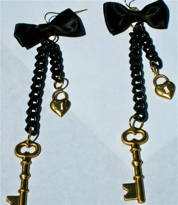 Brass Lock and Key Black and Gold earrings