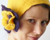 Felted hat- felt handmade yellow felted flower retro cloche, for woman, gifts rare, uncommon poletsy