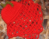 Apple Hat Photo Prop, Crochet Baby Hat Set: Red Apple Hat and Mini Web Blanket Set, Photography Prop