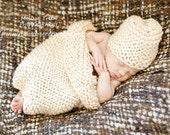 "Crochet Baby Hat Blanket Set, Newborn Baby Photography Prop, Chunky Beige - ""Vanilla Cream"""