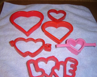 6 Heart Plastic Cookie Cutters