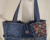Rag Quilt Purse - Blue