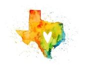texas Love - Art Print 10x8 inch-Wall Art-Home decor-state poster