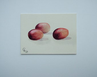 ACEO original watercolour painting of grapes.