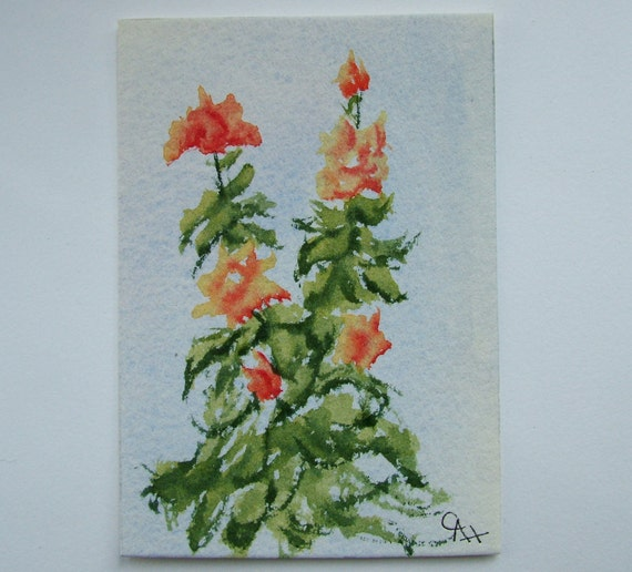 ACEO Original watercolor painting of Peach Roses.