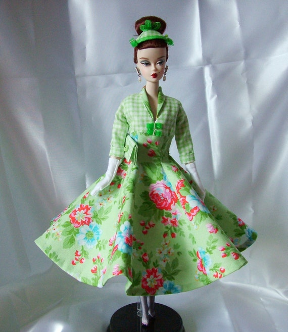 Handmade 1950's style ensemble to fit Silkstone Barbie and Fashion Royalty Dolls.