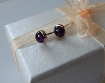 Amethyst Stud Earrings - 5 mm Amethyst set in 14 k Goldfilled