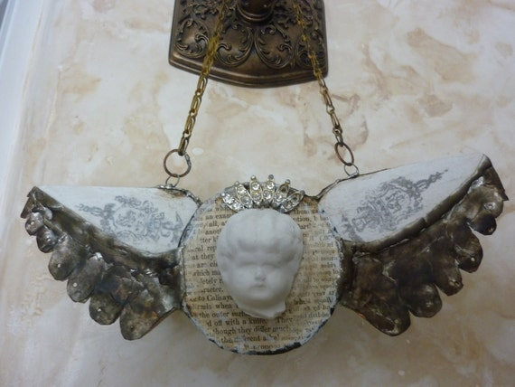 "Shabby Chic Wall Decor China Head Doll Upcycled Art  Repurposed Wall Hanging  1920""s repurposed Chain  Mixed Media Angel Wings Assemblage"