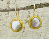 24k Solid  Gold Pearls  Earrings