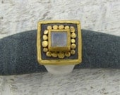 Gemstone Ring, Gold Moonstone Ring , 24k Solid Gold & Silver  Ring, Square Signet Ring