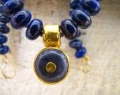Gold Lapis Lazuli Necklace. 24k  Solid gold Lapis Lazuli & Dumortierite Necklace