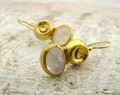 24k Gold Rainbow Moonstone Earrings