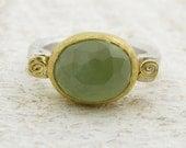 New Jade Ring, 24k gold & Sterling silver ring