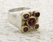 Garnets Gold Ring, 24k Gold & Silver Ring Cocktail Ring, Statment Ring, Gemstone Ring