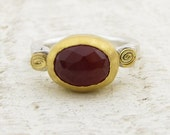 Carnelian Ring, 24k gold & Sterling silver ring