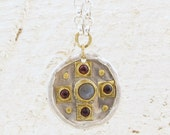 Labradorite & Garnets Round Silver Pendant with 24k Gold - Pendant Necklace