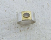 Moonstone Ring . Moonstone  & 14k Solid Gold on Sterling  Silver Ring
