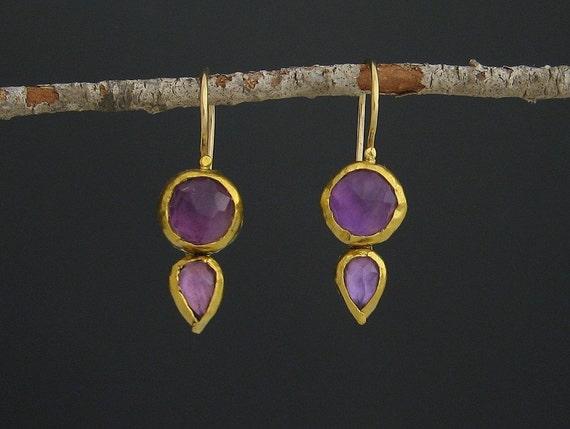 Amethyst  Earrings, 24k Solid Gold & Amethyst Earrings, Dangle Earrring